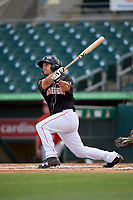 Jupiter Hammerheads catcher Michael Hernandez (27) hits a home run in the bottom of the second inning during a game against the Palm Beach Cardinals on August 5, 2018 at Roger Dean Chevrolet Stadium in Jupiter, Florida.  Jupiter defeated Palm Beach 3-0.  (Mike Janes/Four Seam Images)