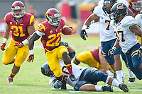 LOS ANGELES, CA - September 22, 2012:  USC running back Curtis McNeal (22) during the USC Trojans vs the Cal Bears at the Los Angeles Memorial Coliseum in Los Angeles, CA. Final score USC 27, Cal 9..
