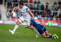 3rd October 2021; AJ Bell stadium, Eccles, Greater Manchester, England: Gallagher Premiership Rugby, Sale v Exeter ;  Dave Ewers of Exeter Chiefs is tackled by  Rob du Preez of Sale Sharks