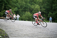André Greipel (DEU/Lotto-Soudal) & Jasper De Buyst (BEL/Lotto-Soudal) descending a tricky hairpin corner<br /> <br /> stage 4: Hotel Verviers - La Gileppe (Jalhay/BEL) 186km <br /> 30th Ster ZLM Toer 2016