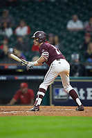 Jake Mangum (15) of the Mississippi State Bulldogs squares to bunt against the Louisiana Ragin' Cajuns in game three of the 2018 Shriners Hospitals for Children College Classic at Minute Maid Park on March 2, 2018 in Houston, Texas.  The Bulldogs defeated the Ragin' Cajuns 3-1.   (Brian Westerholt/Four Seam Images)
