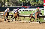 """DEL MAR, CA  AUGUST 27: #5 Masochistic and Tyler Baze widen their lead ahead of #3 Vyjack and Flavien Prat, and #4 Indexical and Mario Gutierrez  in the Pat O'Brien Stakes (Gll) """"Win and You're In Dirt Mile Division"""" at Del Mar Turf Club on August 27, 2016 at Del Mar, CA (Photo by Casey Phillips/Eclipse Sportswire/Getty Images)DEL MAR, CA  AUGUST 27:  at Del Mar Turf Club on August 20, 2016 at Del Mar, CA (Photo by Casey Phillips/Eclipse Sportswire/Getty Images)"""