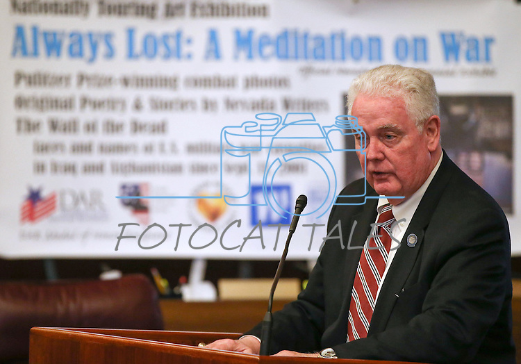 Nevada Assembly Speaker John Hambrick, R-Las Vegas, speaks at the opening ceremony of the Always Lost: A Meditation on War exhibit at the Legislative Building in Carson City, Nev., on Monday, April 6, 2015. <br /> Photo by Cathleen Allison/Nevada Photo Source