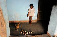 INDIA, Jharkhand, Chaibasa, Adivasi, Ho tribe, girl with chicken / INDIEN, Jharkhand , Chaibasa , Dorf Surjabasa , Ho Ureinwohner