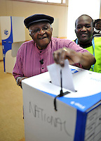 """Archbishop Desmond Tutu cast his vote in the 2009 general election at a polling station in Milnerton. Tutu said he was only voting after """"a lot of heart-searching"""" having previously stated that he would not cast his ballot."""
