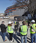 April 22, 2021— Construction continues at the 11,000 seat Summit Arena at the Monument as shown during a media tour in Rapid City, S.D.  xPictured is Andrew Corson, senior project manager with Mortenson Construction speaking with media.Completion is expected by October 1. (Photo by Richard Carlson/Inertia)