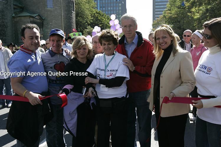 Montreal (qc) CANADA -sept 16 2007 file Photo- Walk for the Farha Fondation : evelyne Farha, Stephane Dion