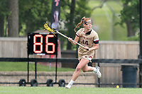 NEWTON, MA - MAY 14: Jillian Reilly #14 of Boston College brings the ball forward during NCAA Division I Women's Lacrosse Tournament first round game between Fairfield University and Boston College at Newton Campus Lacrosse Field on May 14, 2021 in Newton, Massachusetts.