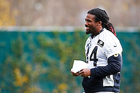 DeAngelo Williams #34 of the Pittsburgh Steelers practices at the south side practice facility on November 18, 2015 in Pittsburgh, PA.
