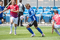SAN JOSE, CA - APRIL 24: Cade Cowell #44 of the San Jose Earthquakes controls the ball during a game between FC Dallas and San Jose Earthquakes at PayPal Park on April 24, 2021 in San Jose, California.