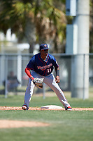 Minnesota Twins Lewin Diaz (11) during a minor league Spring Training game against the Baltimore Orioles on March 17, 2017 at the Buck O'Neil Baseball Complex in Sarasota, Florida.  (Mike Janes/Four Seam Images)