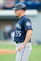 Pulaski Mariners manager Chris Prieto (55) coaches third base during the Appalachian League game against the Burlington Royals at Burlington Athletic Park on July 20, 2013 in Burlington, North Carolina.  The Royals defeated the Mariners 6-5.  (Brian Westerholt/Four Seam Images)