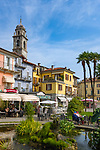 Italy, Piedmont, Verbania: Cafés and hotel at Piazza Garibaldi | Italien, Piemont, Verbania: Cafés und Hotel an der Piazza Garibald