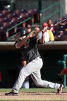 Steven Proscia #19 of the High Desert Mavericks bats against the Inland Empire 66'ers at San Manuel Stadium on April 29, 2012 in San Bernardino,California. Inland Empire defeated High Desert 3-0.(Larry Goren/Four Seam Images)