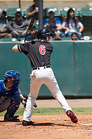 Visalia Rawhide first baseman Pavin Smith (6) at bat during a California League game against the Stockton Ports at Visalia Recreation Ballpark on May 9, 2018 in Visalia, California. Stockton defeated Visalia 4-2. (Zachary Lucy/Four Seam Images)