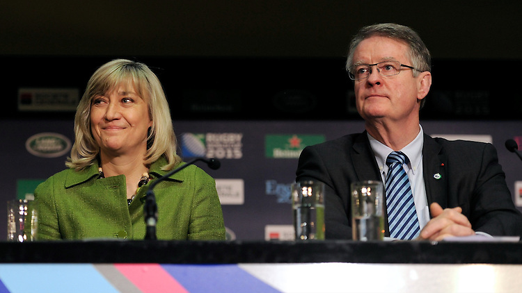 England Rugby 2015 Chief Executive Debbie Jevans and IRB and RWCL Chairman Bernard Lapasset during the Rugby World Cup 2015 Venues and Match Schedule Launch at Twickenham Stadium on Thursday 2nd May 2013 (Photo by Rob Munro)