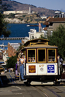 San Francisco, California - Hyde Street Cable Car, Alcatraz in Background.