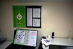 Mossley 4 Pickering Town 1, 26/09/2020. Seel Park, Northern Premier League Division One North West. Tactics boards in the manager's room, pictured before Mossley take on Pickering Town. Formed in 1903, Mossley moved into their current ground in 1912 and have played there ever since. The home team won the match 4-1, watched by a crowd of 400, the maximum number permitted in the ground under COVID-19 social distancing regulations. Photo by Colin McPherson.