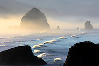 Waves with offshore wind at Cannon Beach. Oregon