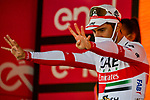 Diego Ulissi (ITA) UAE Team Emirates wins Stage 13, his 2nd in this years race and his eight stage win in all Giri, of the 103rd edition of the Giro d'Italia 2020 running 192km from Cervia to Monselice, Italy. 16th October 2020.  <br /> Picture: LaPresse/Marco Alpozzi | Cyclefile<br /> <br /> All photos usage must carry mandatory copyright credit (© Cyclefile | LaPresse/Marco Alpozzi)