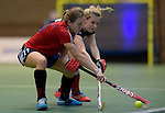 GER - Luebeck, Germany, February 06: During the 1. Bundesliga Damen indoor hockey semi final match at the Final 4 between Berliner HC (blue) and Duesseldorfer HC (red) on February 6, 2016 at Hansehalle Luebeck in Luebeck, Germany. Final score 1-3 (HT 0-1). (Photo by Dirk Markgraf / www.265-images.com) *** Local caption *** Darja Moellenberg #11 of Duesseldorfer HC