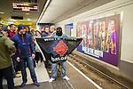 "© Joel Goodman - 07973 332324 . 28/03/2015 . Manchester , UK . Neo-Nazis on the Metrolink platform at Piccadilly in Manchester . Approximately 100 neo-Nazis gather in Manchester for "" White Pride Worldwide day "" . Photo credit : Joel Goodman"