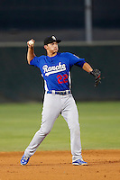Corey Seager #22 of the Rancho Cucamonga Quakes during a game against the Lancaster JetHawks at The Hanger on August 26, 2013 in Lancaster, California. Rancho Cucamonga defeated Lancaster, 4-1. (Larry Goren/Four Seam Images)