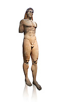 Marble Anxcient Greek Archaic meble statue of a kouros, circa 530 BC, found in Kea,  Athens National Archaeological Museum. Cat no 3886. Against white.<br /> <br /> The statue is a lively sculpture with good plasticity in the rendering of the torso. Made by a Kea sculptor.