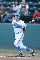 Luke Persico #21 of the UCLA Bruins bats against the Stanford Cardinal at Jackie Robinson Stadium on May 2, 2014 in Los Angeles, California. UCLA defeated Stanford, 7-2. (Larry Goren/Four Seam Images)