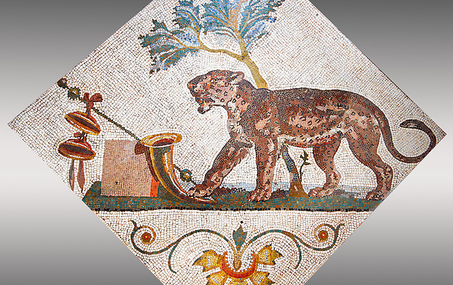 Roman mosaics from Pompeii showing a Panther with Dionysus symbol (Pantera con simboli dionisiaci) from the Santangelo collection, Naples Archaeological Museum, Italy