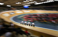 05 DEC 2014 - STRATFORD, LONDON, GBR - The Australian (AUS) team race round the track during the men's Team Pursuit qualifying round at the 2014 UCI Track Cycling World Cup  at the Lee Valley Velo Park in Stratford, London, Great Britain (PHOTO COPYRIGHT © 2014 NIGEL FARROW, ALL RIGHTS RESERVED)