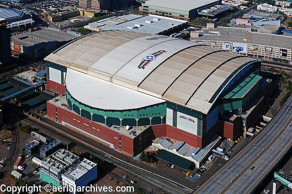 aerial photograph of Chase Field, Home of the Diamondbacks, Phoenix, Arizona