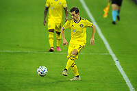 WASHINGTON, DC - OCTOBER 28: Pedro Santos #7 of Columbus Crew SC moves the ball during a game between Columbus Crew and D.C. United at Audi Field on October 28, 2020 in Washington, DC.