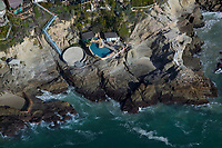 aerial photograph of oceanside private pools, Orange County, California