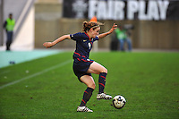 Heather O'Reilly controls the ball. The USA captured the 2010 Algarve Cup title by defeating Germany 3-2, at Estadio Algarve on March 3, 2010.