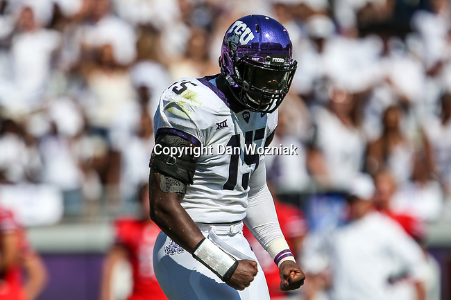 TCU Horned Frogs defensive end Ben Banogu (15) in action during the game between the SMU Mustangs and the TCU Horned Frogs at the Amon G. Carter Stadium in Fort Worth, Texas.