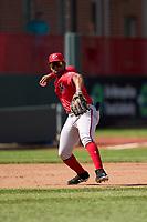 Harrisburg Senators third baseman Omar Meregildo (44) throws to first base during a game against the Erie Seawolves on September 5, 2021 at UPMC Park in Erie, Pennsylvania.  (Mike Janes/Four Seam Images)