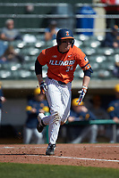 AlexSteinbach (34) of the Illinois Fighting Illini hustles down the first base line against the West Virginia Mountaineers at TicketReturn.com Field at Pelicans Ballpark on February 23, 2020 in Myrtle Beach, South Carolina. The Fighting Illini defeated the Mountaineers 2-1.  (Brian Westerholt/Four Seam Images)