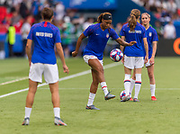 PARIS,  - JUNE 28: Jess McDonald #22 warms up during a game between France and USWNT at Parc des Princes on June 28, 2019 in Paris, France.