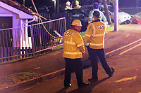 Pictured: Gas board engineers by the damaged building in the Waunceirch area of Neath, Wales, UK. Monday 14 January 2018<br /> Re: Four flats have been evacuated after an explosion in Neath at 8:30pm on Monday.<br /> Extensive damage was caused to Waun Las, in the Waunceirch area and arrangements made to house its residents until the building is deemed safe.<br /> One woman was taken to hospital with serious burn injuries which are not believed to be life threatening.<br /> A joint investigation is under way between South Wales Police and the fire service to determine the cause.<br /> Wales and West Utilities said the gas supply to the affected property had been isolated.