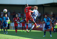 Dayle Southwell of Wycombe Wanderers wins the header from Lewis Young of Crawley Town during the Sky Bet League 2 match between Crawley Town and Wycombe Wanderers at Broadfield Stadium, Crawley, England on 6 August 2016. Photo by Alan  Stanford / PRiME Media Images.