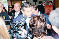 Texas senator and Republican presidential candidate Ted Cruz speaks to attendees and the media after speaking at a town hall put on by the Concerned Veterans for American at Milford Town Hall in Milford, New Hampshire.