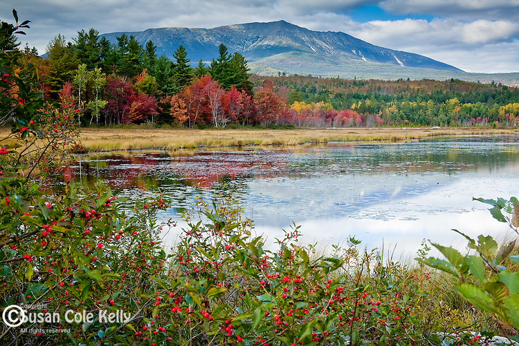 The view from Compass Pond - Mt Katahdin towers over Baxter State Park, ME, USA