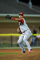 Williamsport Crosscutters third baseman Jan Hernandez (12) throws to first during a game against the Batavia Muckdogs on August 27, 2015 at Dwyer Stadium in Batavia, New York.  Batavia defeated Williamsport 3-2.  (Mike Janes/Four Seam Images)