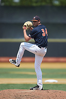 Virginia Cavaliers relief pitcher Evan Sperling (34) in action against the Wake Forest Demon Deacons at David F. Couch Ballpark on May 19, 2018 in  Winston-Salem, North Carolina. The Demon Deacons defeated the Cavaliers 18-12. (Brian Westerholt/Four Seam Images)