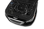 Car Stock 2017 Genesis G80 3.8-AWD 4 Door Sedan Engine  high angle detail view