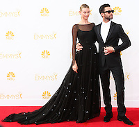 LOS ANGELES, CA, USA - AUGUST 25: Model Behati Prinsloo and singer Adam Levine of Maroon 5 arrive at the 66th Annual Primetime Emmy Awards held at Nokia Theatre L.A. Live on August 25, 2014 in Los Angeles, California, United States. (Photo by Celebrity Monitor)
