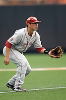 Shortstop Caleb Bushyhead #5 of the Oklahoma Sooners against the Texas Longhorns in NCAA Big XII baseball on May 1, 2011 at Disch Falk Field in Austin, Texas. (Photo by Andrew Woolley / Four Seam Images)