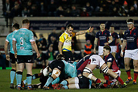 Referee, Adam Leal  awards to London Scottish during the Greene King IPA Championship match between London Scottish Football Club and Nottingham Rugby at Richmond Athletic Ground, Richmond, United Kingdom on 7 February 2020. Photo by Carlton Myrie.