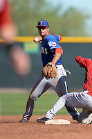 Texas Rangers shortstop Isiah Kiner-Falefa (75) during an Instructional League game against the Cincinnati Reds on October 3, 2014 at Surprise Stadium Training Complex in Surprise, Arizona.  (Mike Janes/Four Seam Images)